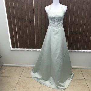Michaelangelo Pale Green Formal Halter Dress